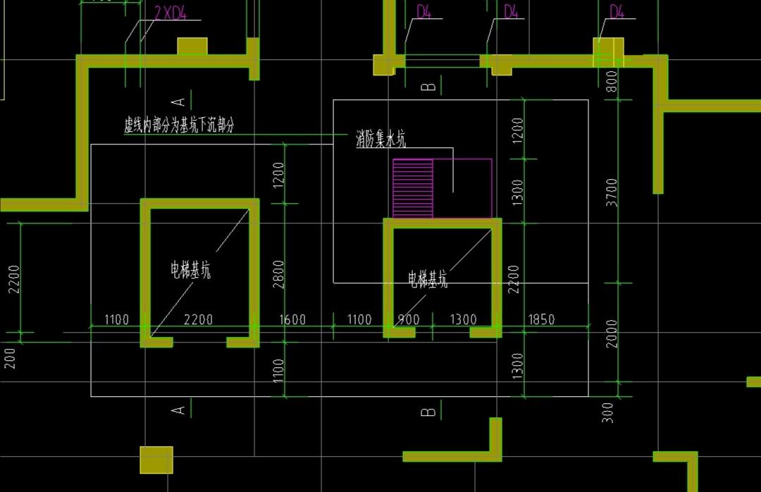 土建,山东,答疑:各位大佬,像这样的集水坑和电梯井连在一起是如何建模?GTJ2021!!!谢谢!-山东土建,