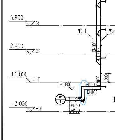 安装,新疆维吾尔自治区,答疑:图中圈出来的立管高度如何算,顶标高是按梁的高度算,还是如何算-新疆维吾尔自治区安装,