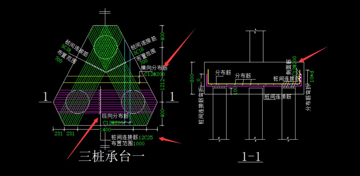 土建,湖南,答疑:三桩承台这样布置是正确的吗,横向 纵向分布筋需要删除还是用软件默认的-湖南土建,